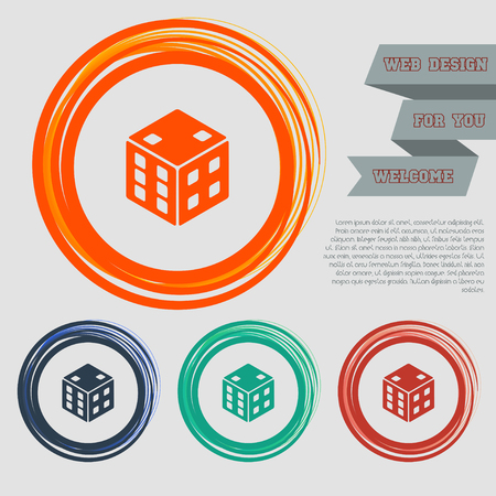 game cube icon on the red, blue, green, orange buttons for your website and design with space text. Vector illustration