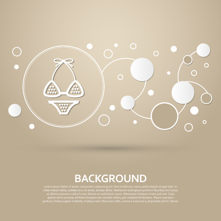 Underwear, bikini icon on a brown background with elegant style and modern design infographic. Vector illustration Illustration