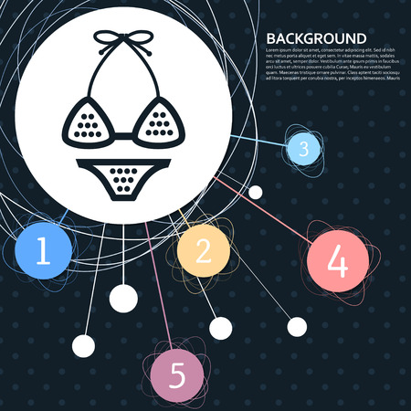 Underwear, bikini icon with the background to the point and with infographic style. Vector illustration