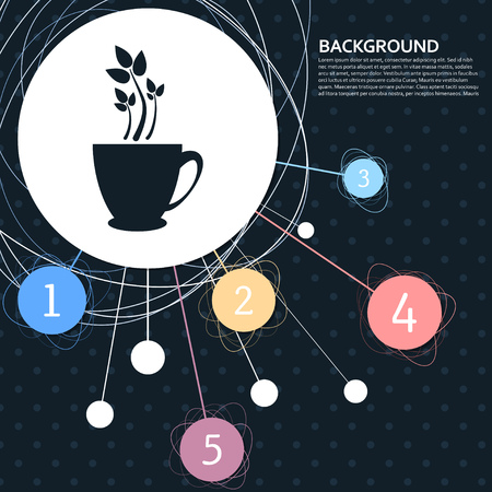 green tea icon with the background to the point and with infographic style. Vector illustration