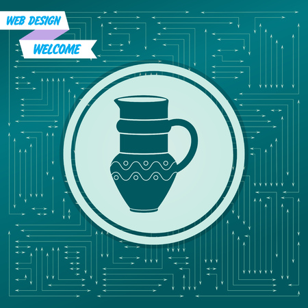 Jug Icon on a green background, with arrows in different directions. It appears on the electronic board. Vector illustration