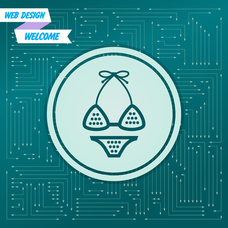 Underwear, bikini icon on a green background, with arrows in different directions. It appears on the electronic board. Vector illustration Illustration