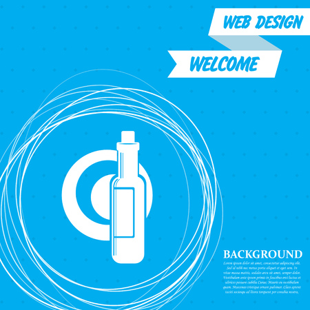 Beer, wine bottle on a blue background with abstract circles around and place for your text. Vector illustration Illustration