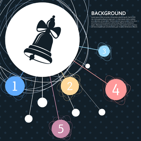 Ringing bell icon with the background to the point and with infographic style. Vector illustration