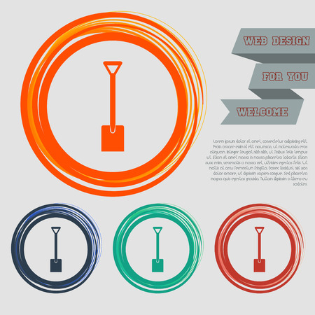 Shovel icon on the red, blue, green, orange buttons for your website and design with space text. Vector illustration