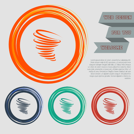 Tornado icon on the red, blue, green, orange buttons for your website and design with space text. Vector illustration Illustration