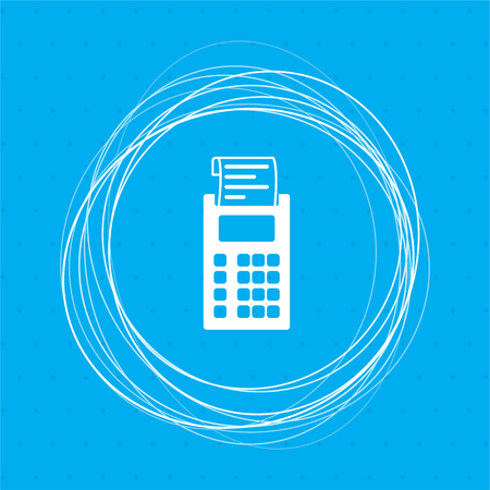 calculator icon on a blue background with abstract circles around and place for your text. illustration