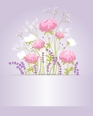 Composition with peonies, lavender and wild flowers. Card. illustration Banque d'images - 98991111