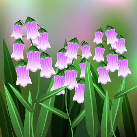 Beautiful Flower, Illustration of Azorina Flower with Green Leaves on Tree Branch. illustration