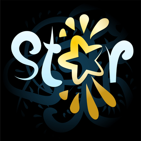 The company logo is associated with the word star on a black background. illustration