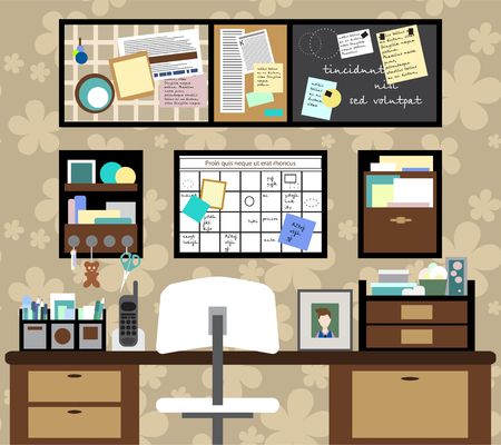 Working space with a desk, chair, planning boards and other items. illustration