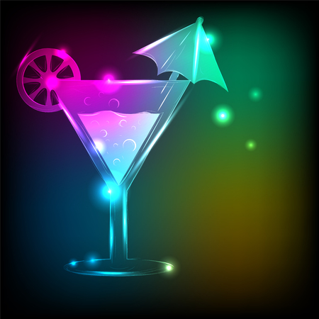 Martini glass with bright background and a neon glow. Banque d'images - 98992253