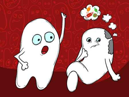 The concept of Problem tooth. Amateur sweet candy. It is necessary to brush your teeth. illustration Banque d'images - 98992363