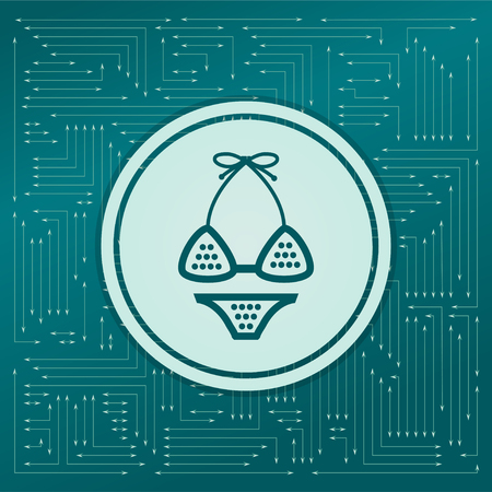 Underwear, bikini icon on a green background, with arrows in different directions. It appears on the electronic board. illustration