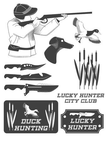 African hunter safari labels, emblems and design elements. illustration Banque d'images - 103296037