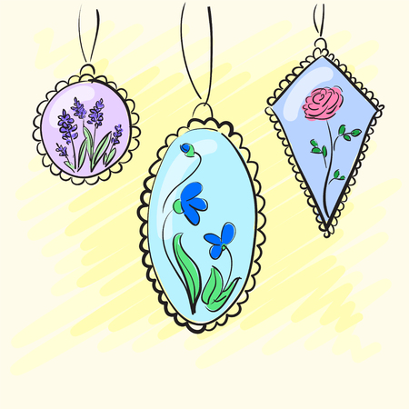 Necklace, medallions around his neck woman with a flower. illustration Stock Photo