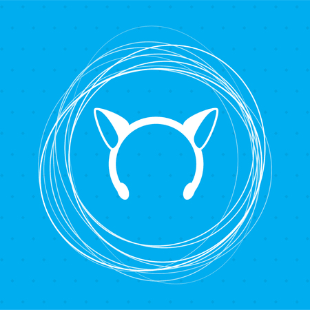 Christmas carnivals ears icon on a blue background with abstract circles around and place for your text. illustration