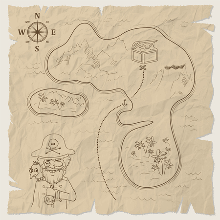 Pirate treasure map of the island on old paper. illustration