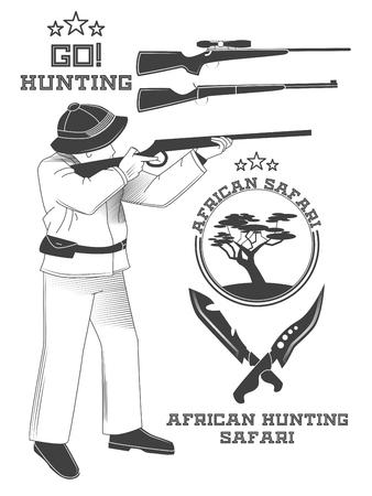 African hunter safari labels, emblems and design elements. illustration Banque d'images - 98993045