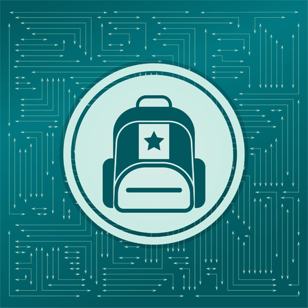 Briefcase, case, bag icon on a green background, with arrows in different directions. It appears on the electronic board. illustration