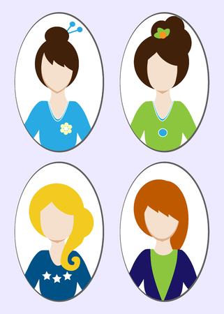 Cute illustrations of beautiful young girls with various hair style. illustration Stock Photo
