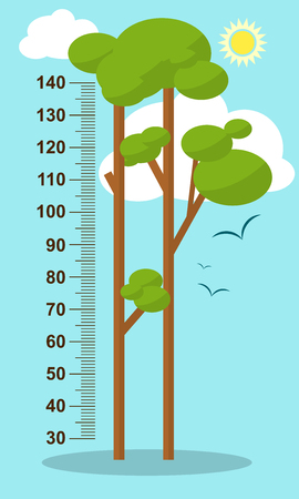 Trees on blue background. Children height meter wall sticker, kids measure. illustration