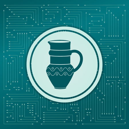 Jug Icon on a green background, with arrows in different directions. It appears on the electronic board. illustration Banco de Imagens