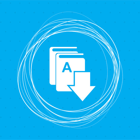 Book download, e-book icon on a blue background with abstract circles around and place for your text. illustration Stock Photo