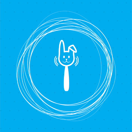 easter rabbit icon on a blue background with abstract circles around and place for your text. illustration Stockfoto