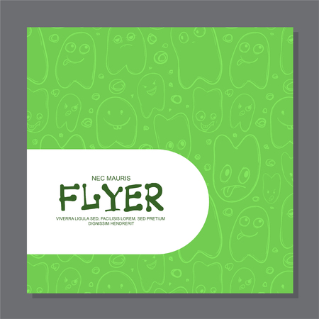 Flyers with Funny faces, cartoon-style on background. It can be used as invitation or card. illustration 写真素材