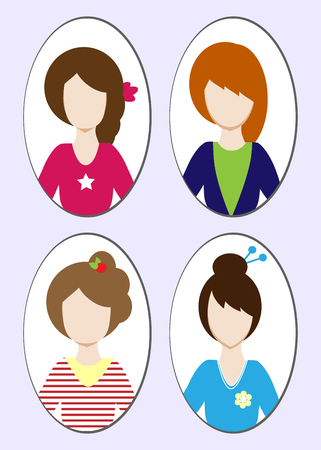 Cute illustrations of beautiful young girls with various hair style. illustration Standard-Bild - 99074180