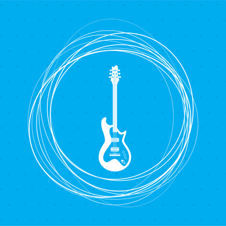 Electric guitar icon. on a blue background with abstract circles around and place for your text. illustration Stock Photo