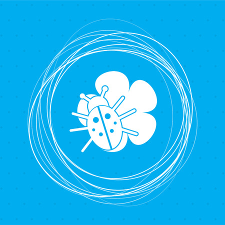 beetle on a leaf icon on a blue background with abstract circles around and place for your text. illustration