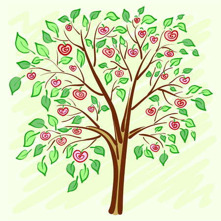 Stylized apple tree with lonely mysterious fruits. illustration