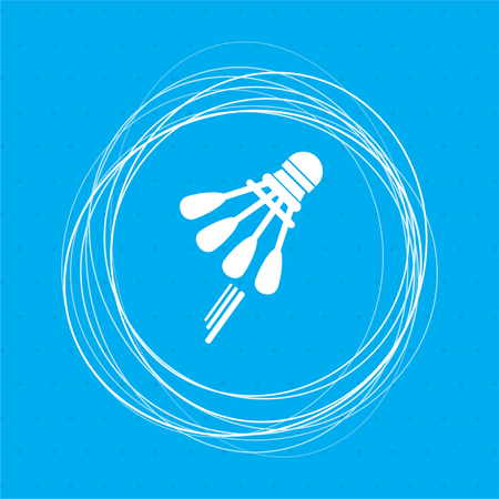 Shuttlecock, badminton, tennis icon on a blue background with abstract circles around and place for your text. illustration