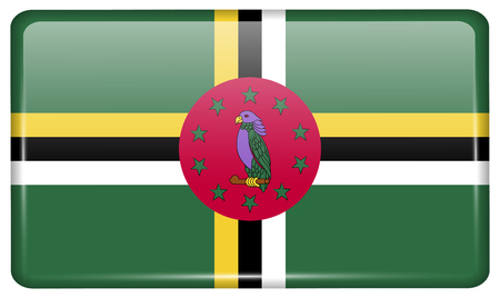 Flags of Dominica in the form of a magnet on refrigerator with reflections light. illustration Reklamní fotografie