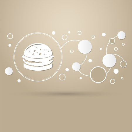 Burger, sandwich, hamburger icon on a brown background with elegant style and modern design infographic. illustration