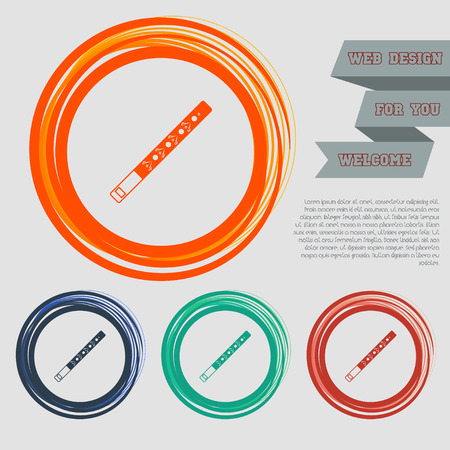 Trumpet icon on the red, blue, green, orange buttons for your website and design with space text. illustration