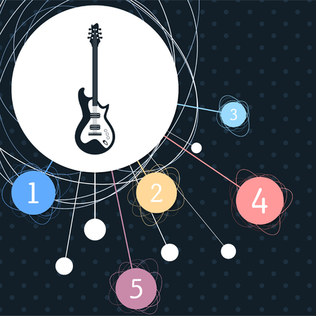 Electric guitar icon. with the background to the point and with infographic style. illustration