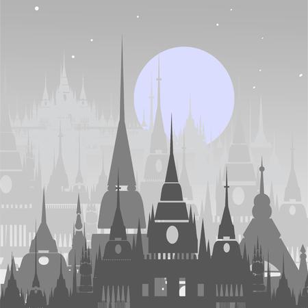 buttiful Cartoon background of Arab town. illustration Фото со стока