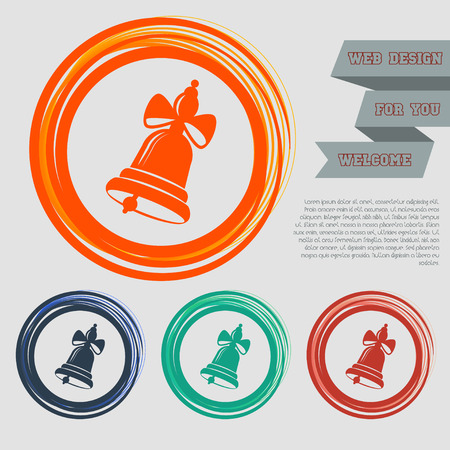 Ringing bell icon on the red, blue, green, orange buttons for your website and design with space text. illustration