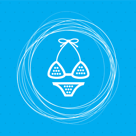 Underwear, bikini icon on a blue background with abstract circles around and place for your text. illustration