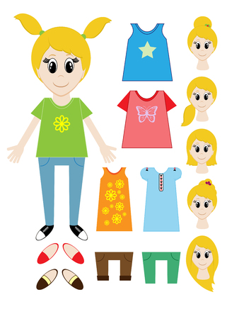 Big set of clothes for the girl Constructor. Hairstyle, dress, shoes, pants, T-shirt. illustration Stock fotó