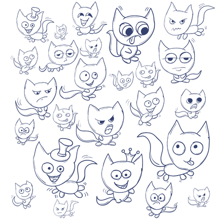 Funny cats contour. Suitable for childrens stories and fairy tales. illustration