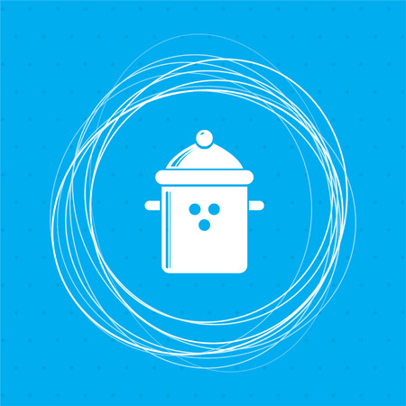 pan cooking icon on a blue background with abstract circles around and place for your text. illustration