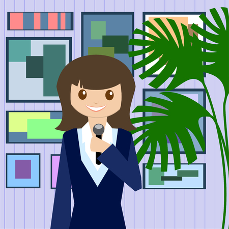 Woman journalist with microphone is a news service on the background of paintings and plants. Flat design. illustration