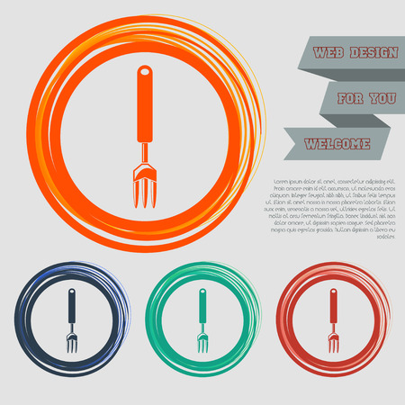 fork icon on the red, blue, green, orange buttons for your website and design with space text. illustration Stock Photo