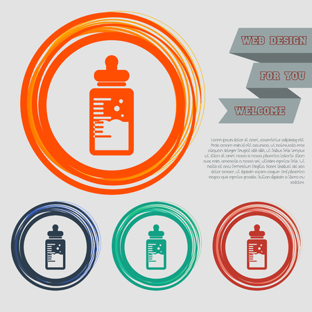 Baby milk bottle icon on the red, blue, green, orange buttons for your website and design with space text. illustration