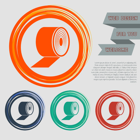 Toilet paper icon on the red, blue, green, orange buttons for your website and design with space text. illustration