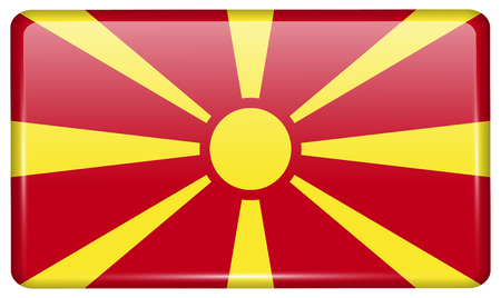Flags of Macedonia in the form of a magnet on refrigerator with reflections light. illustration Stock Photo